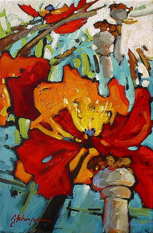 multi-colour acrylic painting titled Following Colour by artist gail johnson.