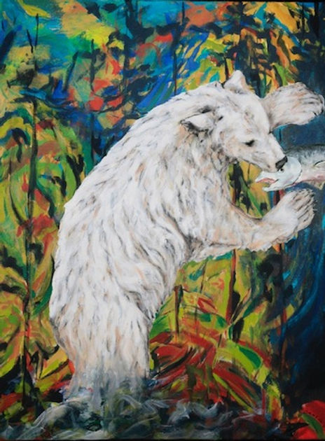 multi-colour mixed media painting titled Spirit Bear in a Laughing Forest by artist maureen enns