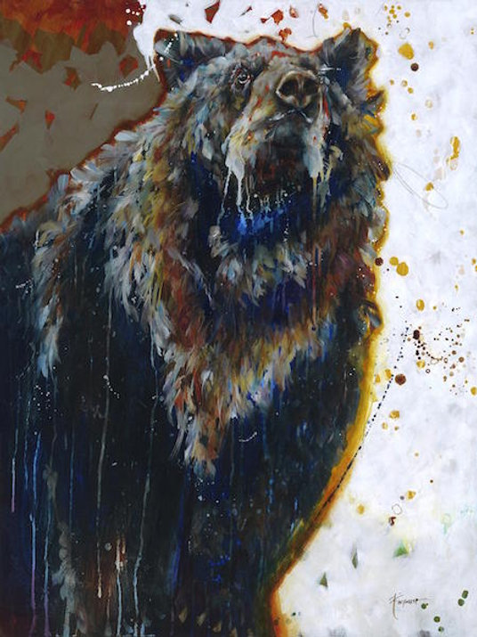 Multi-colour arcylic painting of a wolf titled The Spy by artist fran alexander