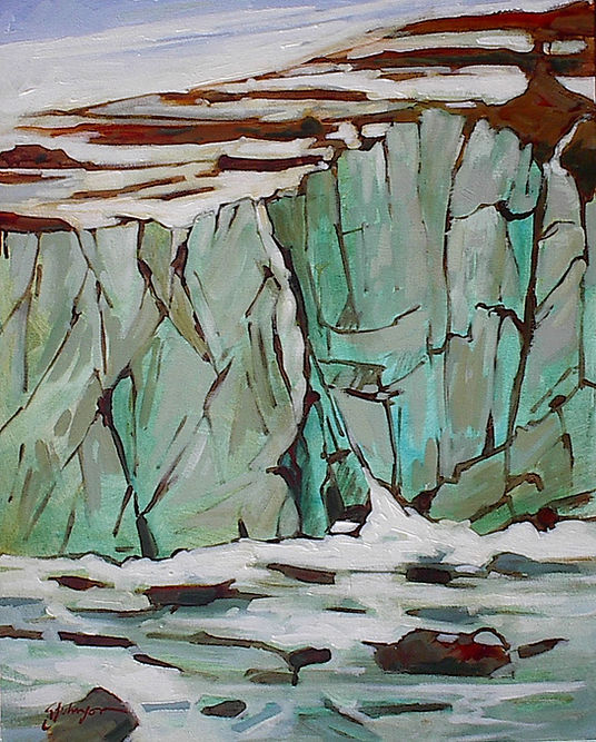 multi-colour acrylic painting titled Angel Glacier, Cavell Pond Study by artist gail johnson.