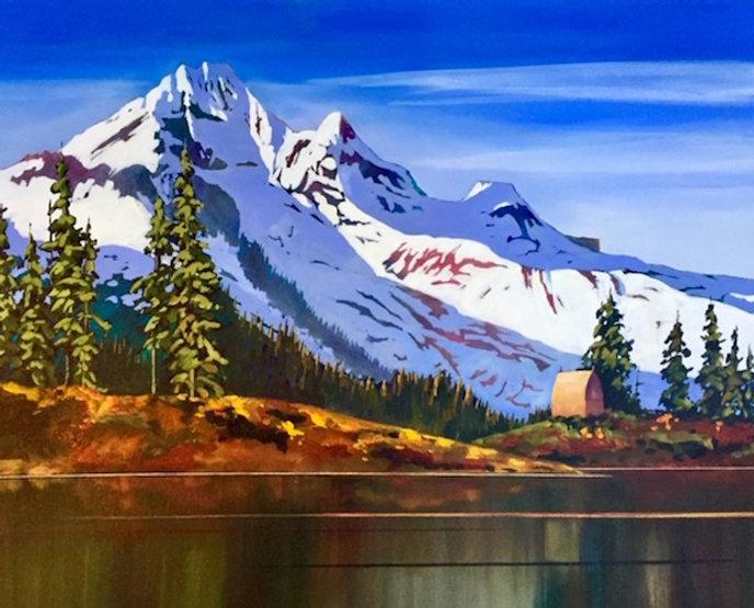multi-colour acrylic painting titled Mt Garibaldi from Elfin Lakes by artist phillipa hudson.