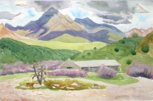 multi-colour watercolour painting titled Horsehead Lodge in Arizona Hills 1998 by artist doris mccarthy.