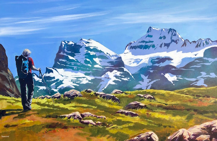 multi-colour acrylic painting titled Hiking in Larch Valley, near Moraine Lake by artist phillipa hudson.