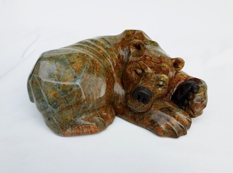 brazilian soapstone scupture titled Power Nap by sculptor roy hinz.