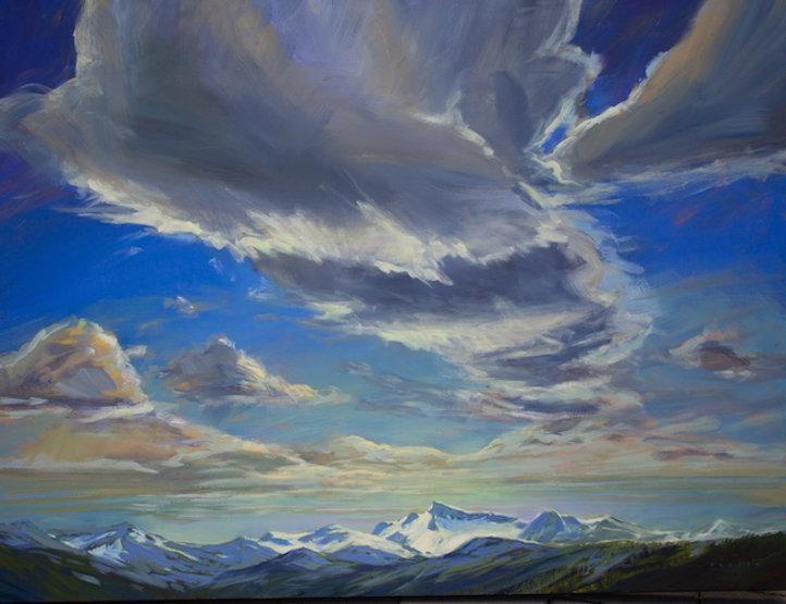multi-colour arcylic painting titled SOLD - Big Sky Over the Spearhead by artist charlie easton