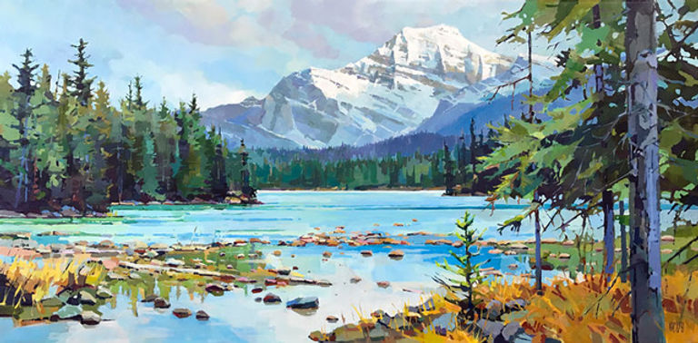 multi-colour arcylic painting titled Edith Over Athabasca by artist randy hayashi.
