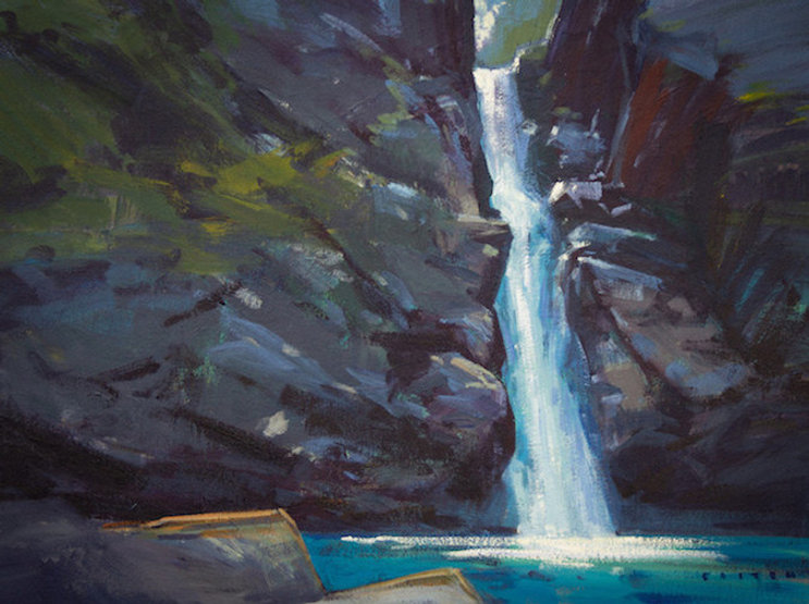 multi-colour arcylic painting titled Cool Falls by artist charlie easton