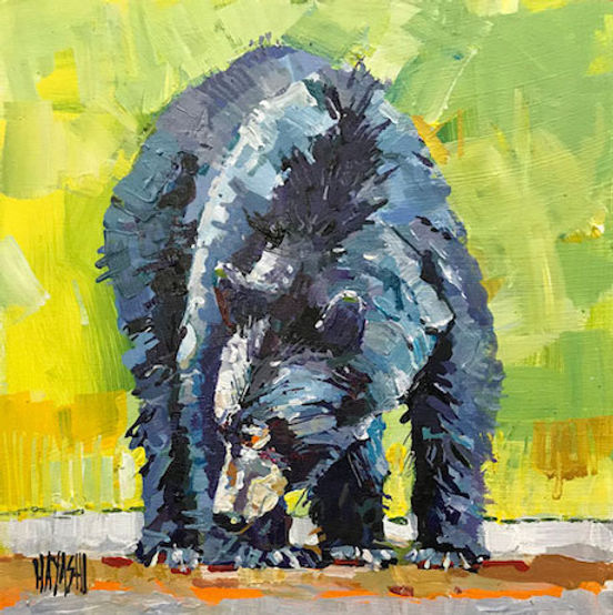 multi-colour arcylic painting titled Bear Prowl by artist randy hayashi.