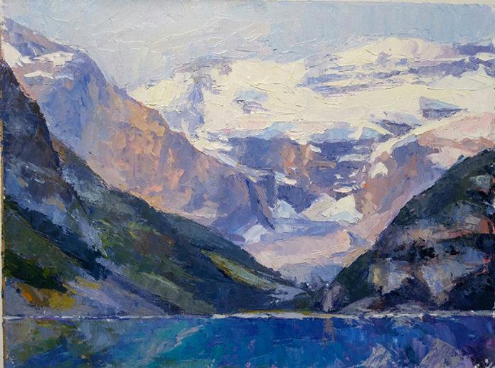 multi-colour oil painting titled Lake louise splendor four by artist michael downs