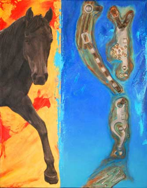 multi-colour mixed media painting titled To the Farrier by artist maureen enns