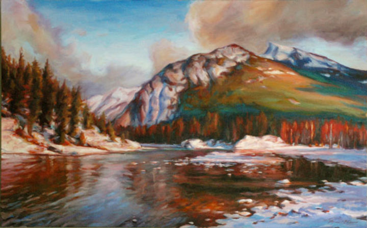 multi-colour oil painting titled River's Journey by artist michael downs