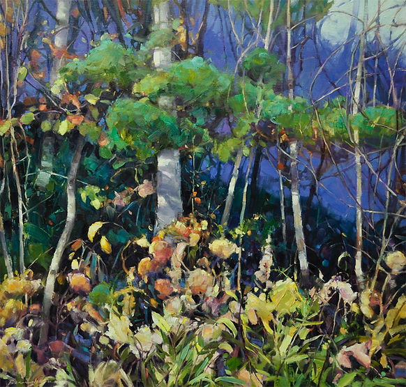 multi-colour oil painting titled When the Light Comes Up by artist wendy bermingham