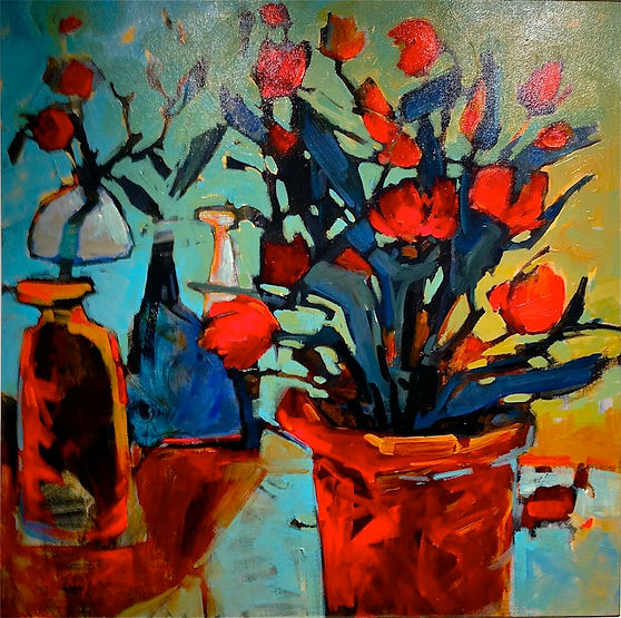 multi-colour acrylic painting titled Come to Pass by artist gail johnson.