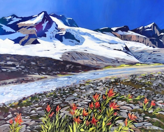multi-colour acrylic painting titled Asulkan Valley, Rogers Pass by artist phillipa hudson.