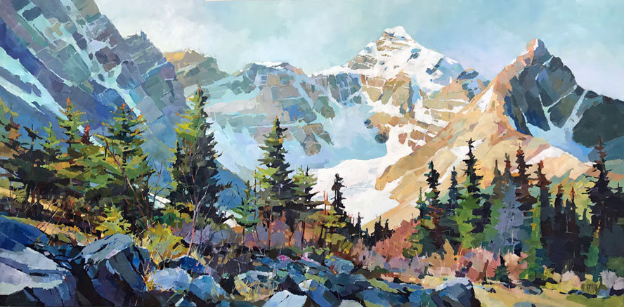multi-colour arcylic painting titled SOLD-Mt Athabasca and Hilda Peak by artist randy hayashi.