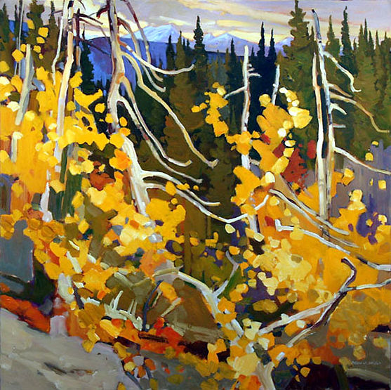 multi-colour arcylic painting titled SOLD Autumn Tangle by artist brian atyeo