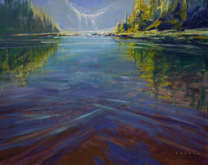 multi-colour arcylic painting titled Lake O'hara Reflections by artist charlie easton
