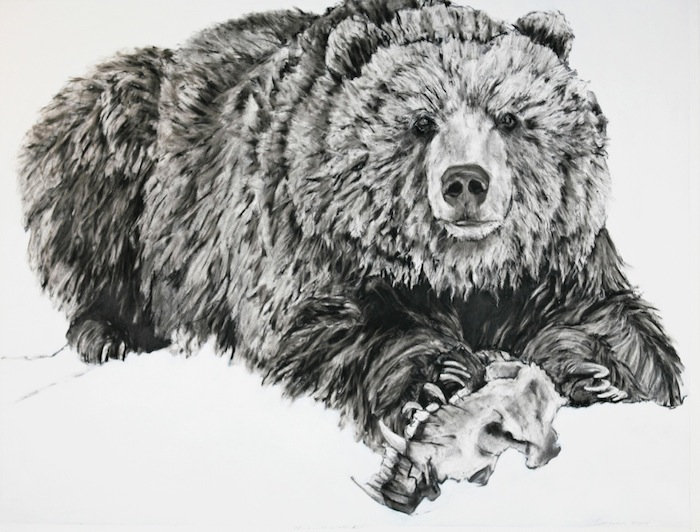 black and white charcoal  painting titled SOLD-chicowith winter kill by artist maureen enns