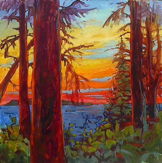multi-colour acrylic painting titled Take It All In by artist gail johnson.