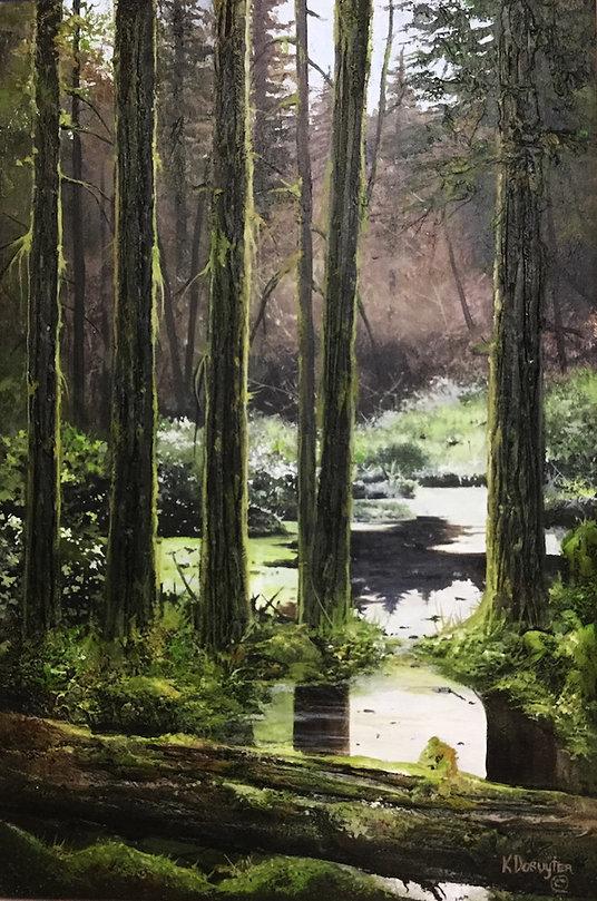 multi-colour arcylic painting titled Hush by artist karel doruyter