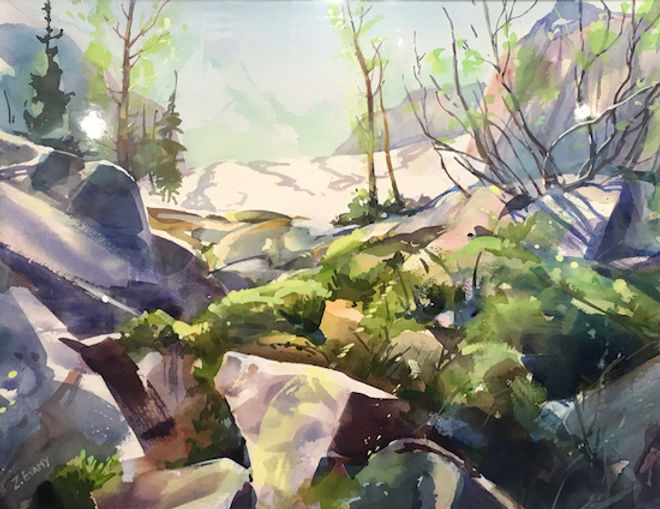 multi-colour watercolour painting titled Bugaboo Summit Approach by artist zoe evamy