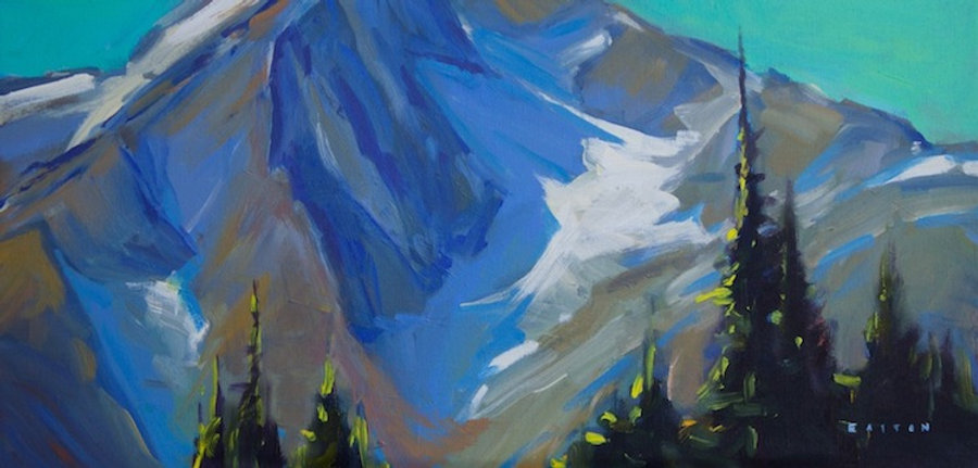 multi-colour arcylic painting titled Mountain Hues by artist charlie easton.