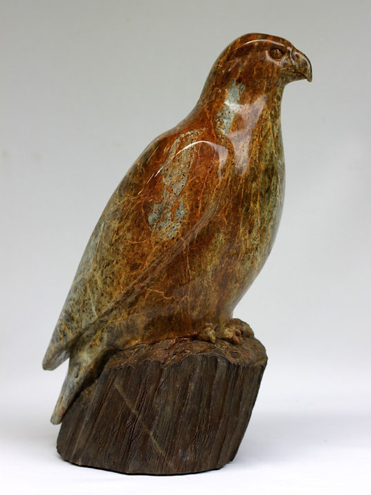 soapstone scupture titled Bird's Eye View by sculptor roy hinz.