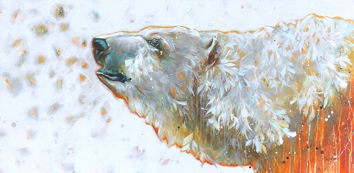 Orange and white arcylic painting of a bear titled Polar north by artist fran alexander
