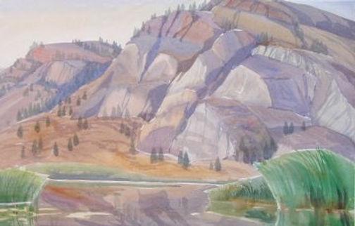 multi-colour watercolour painting titled Rock Hill at Okanagan Falls 1988 by artist doris mccarthy.