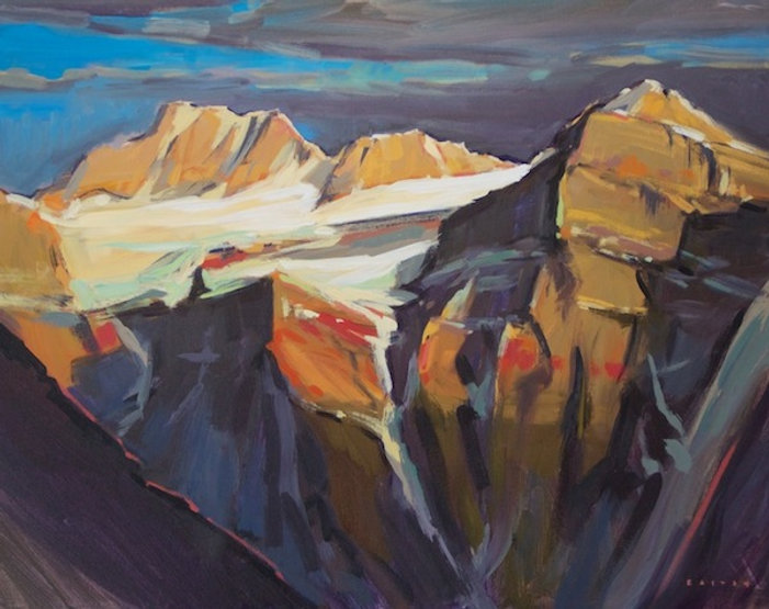 multi-colour arcylic painting titled Mount Fay Shadows by artist charlie easton.