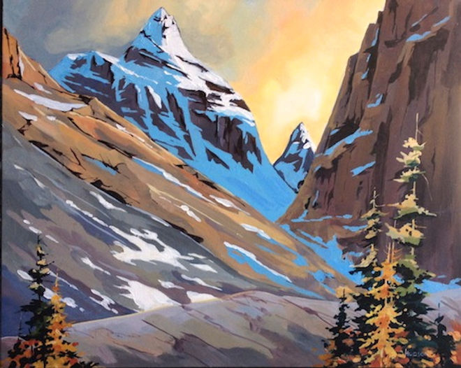 multi-colour acrylic painting titled On the way to the teahouse, Mitre Peak, near Lake by artist phillipa hudson.