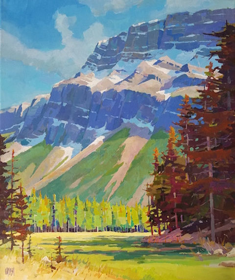 multi-colour arcylic painting titled SOLD-Fairway View by artist randy hayashi.