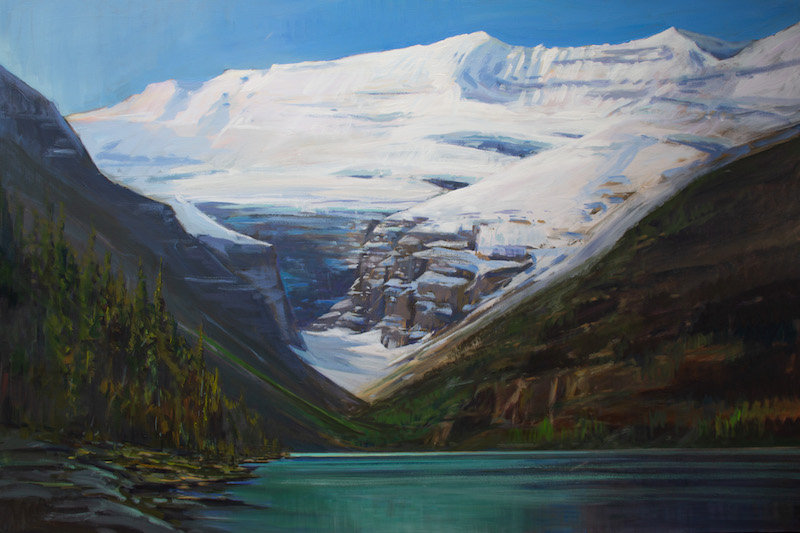 multi-colour arcylic painting titled Victoria Glacier at Lake Louise by artist charlie easton