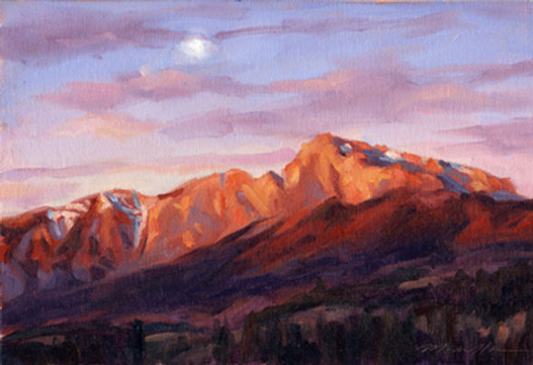 multi-colour oil painting titled Early Morning Moon' by artist michael downs