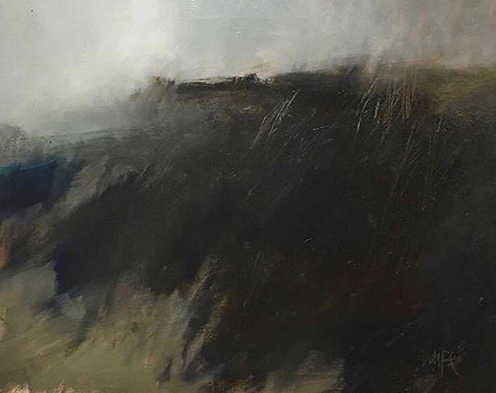 multi-colour oil painting titled SOLD - Fog Rolling In by artist david sharpe.