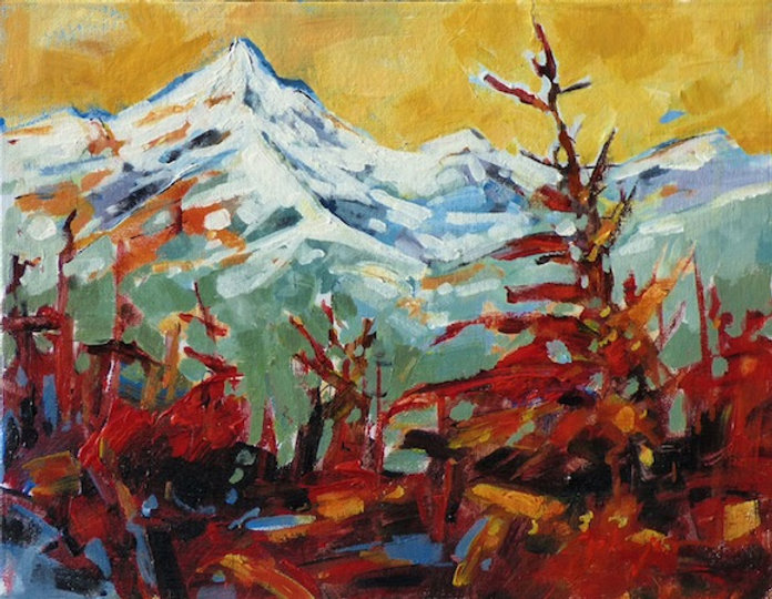 multi-colour acrylic painting titled Mountain Colour Study by artist gail johnson.