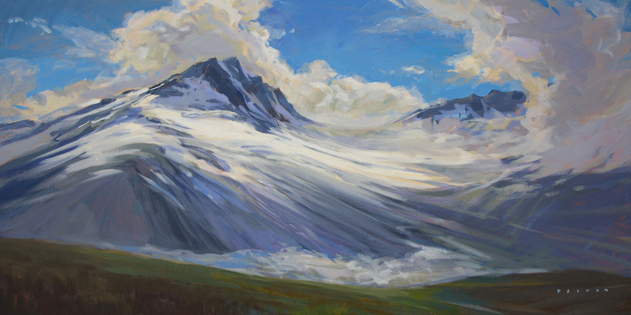 multi-colour arcylic painting titled Tantalus Cloud Action by artist charlie easton