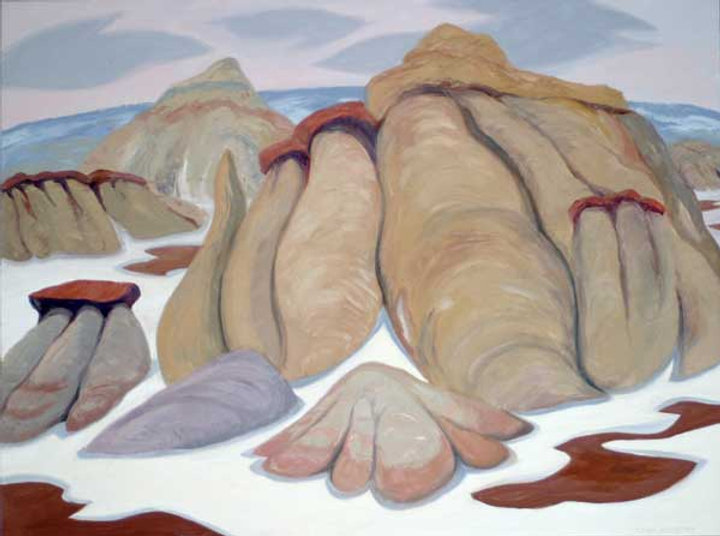 multi-colour oil painting titled Hoodoos in the Badlands 2003 by artist doris mccarthy.