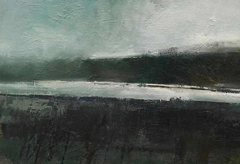 multi-colour acrylic painting titled Last of The River Ice by artist david sharpe.