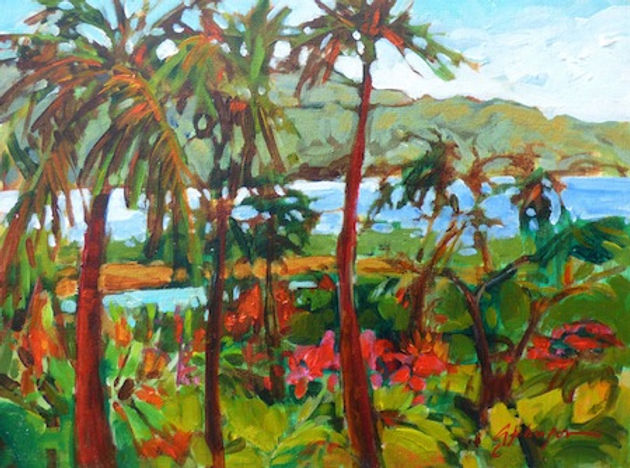 multi-colour acrylic painting titled Hanalei Bay from the Lanai by artist gail johnson.