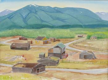 multi-colour watercolour painting titled Village Champayne Yukon 1987 by artist doris mccarthy.