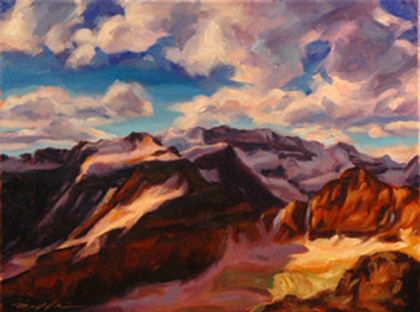 multi-colour oil painting titled Mountain Tops by artist michael downs