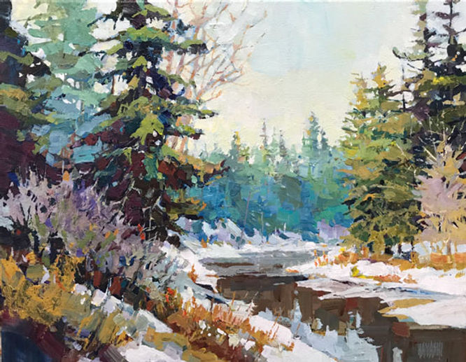 multi-colour arcylic painting titled SOLD - Whitemud Creek Impression by artist randy hayashi.