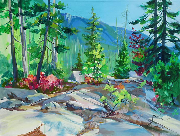 multi-colour arcylic painting titled Rocky Ridge by artist zoe evamy