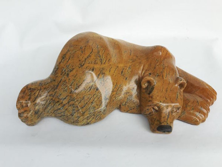 soapstone scupture titled SOLD- Lazy Boy by sculptor roy hinz.