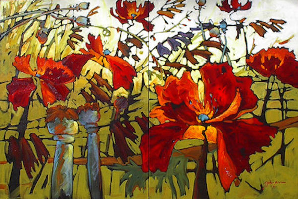 multi-colour acrylic painting titled A Field You Go Back To (diptych) by artist gail johnson.