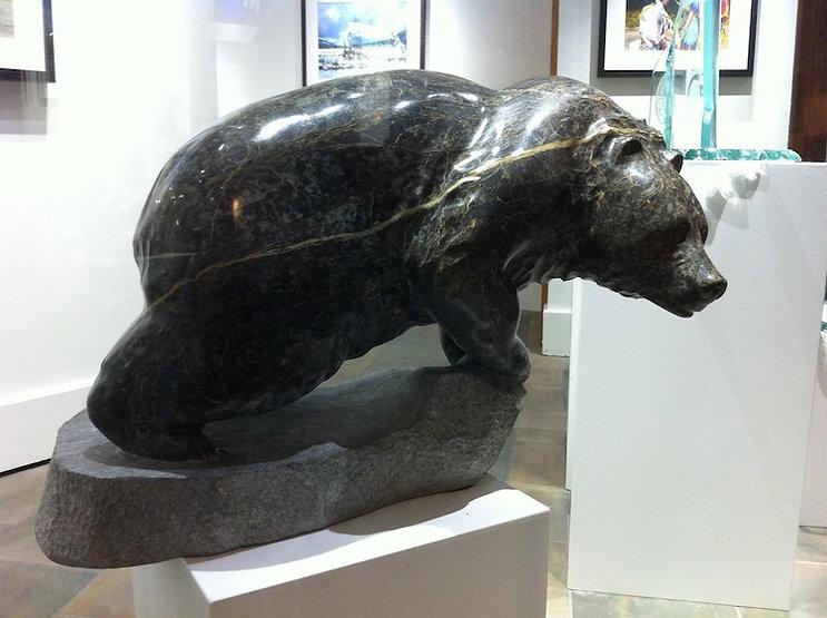 serpentine stone sculpture titled Medium Bear by sculptor cathryn jenkins.