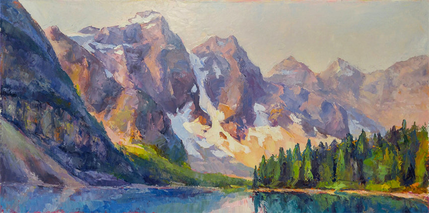 multi-colour oil painting titled Moraine soft light by artist michael downs