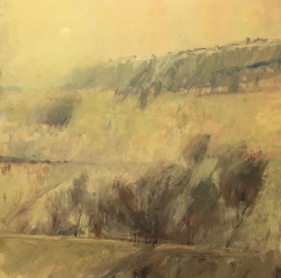 multi-colour oil painting titled Morning Fog in the Ghost Valley by artist david sharpe.