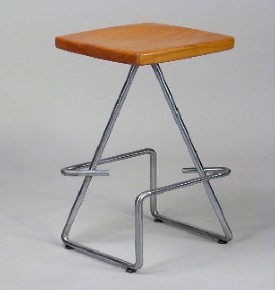 Red and chrome stool titled Nail Puzzle Bar Stool by aviation furniture designer arnt arntzen